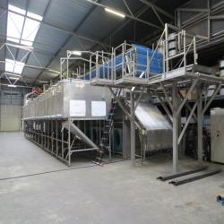 1.Used, complete Starfrost Flow freezer with 15,000 kg/h for freezing vegetables/fruit products with corresponding Howden pump installation.